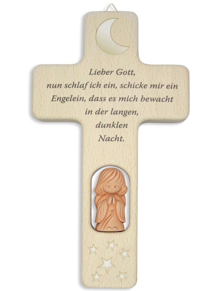 Kreuz für Kinder Lieber Gott Gebet Engel 12 cm Kruzifix Holz-Kreuz Wandkreuz
