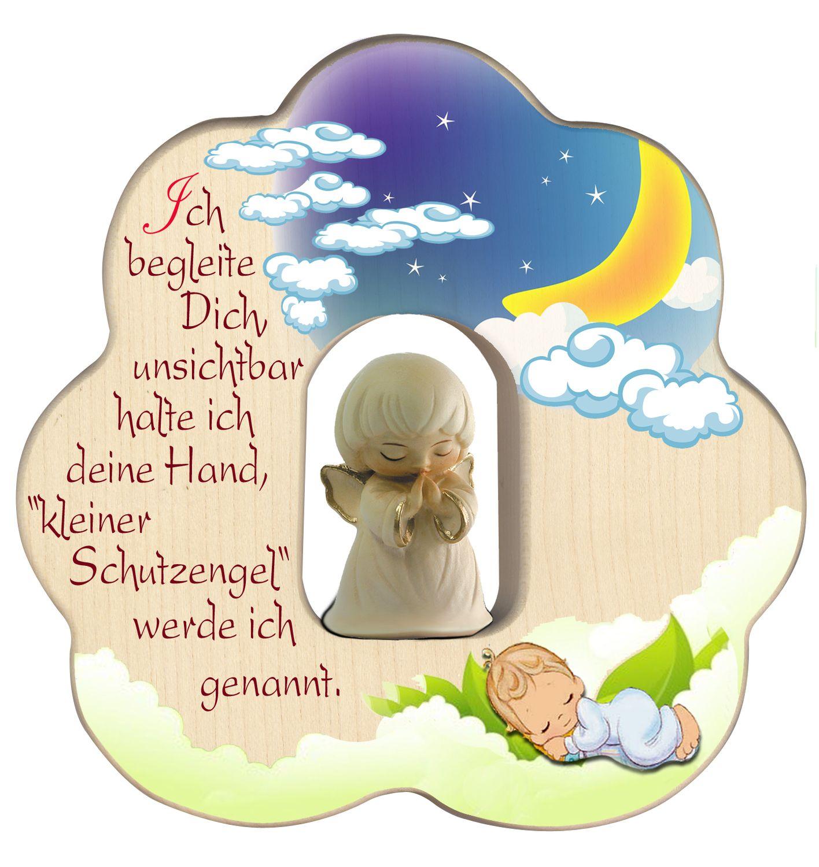 Wolke mit geschnitztem Schutzengel, weiß Segen Gebet Holz 12 cm Kinderzimmer