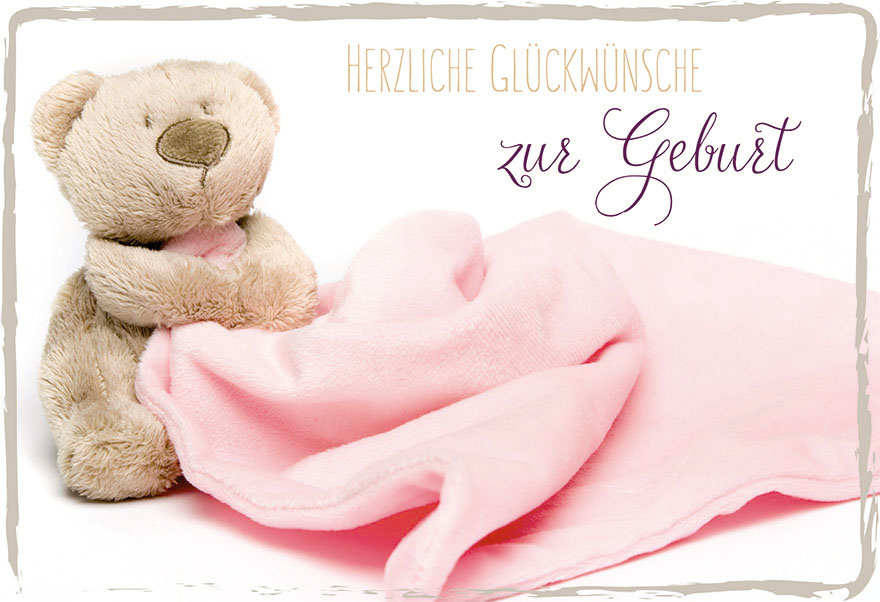 Ausgezeichnet Geburtskarte Teddy Herzliche Glückwünsche zur Geburt (6 Stck  SB88