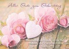Postkarte Alles Gute Zum Geburtstag 10 St Herz Und Blumen Psalm