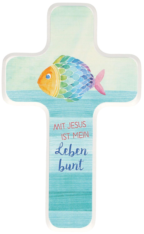 Kreuz für Kinder Mit Jesus ist mein Leben bunt Kruzifix Holz-Kreuz  Geschenkbox