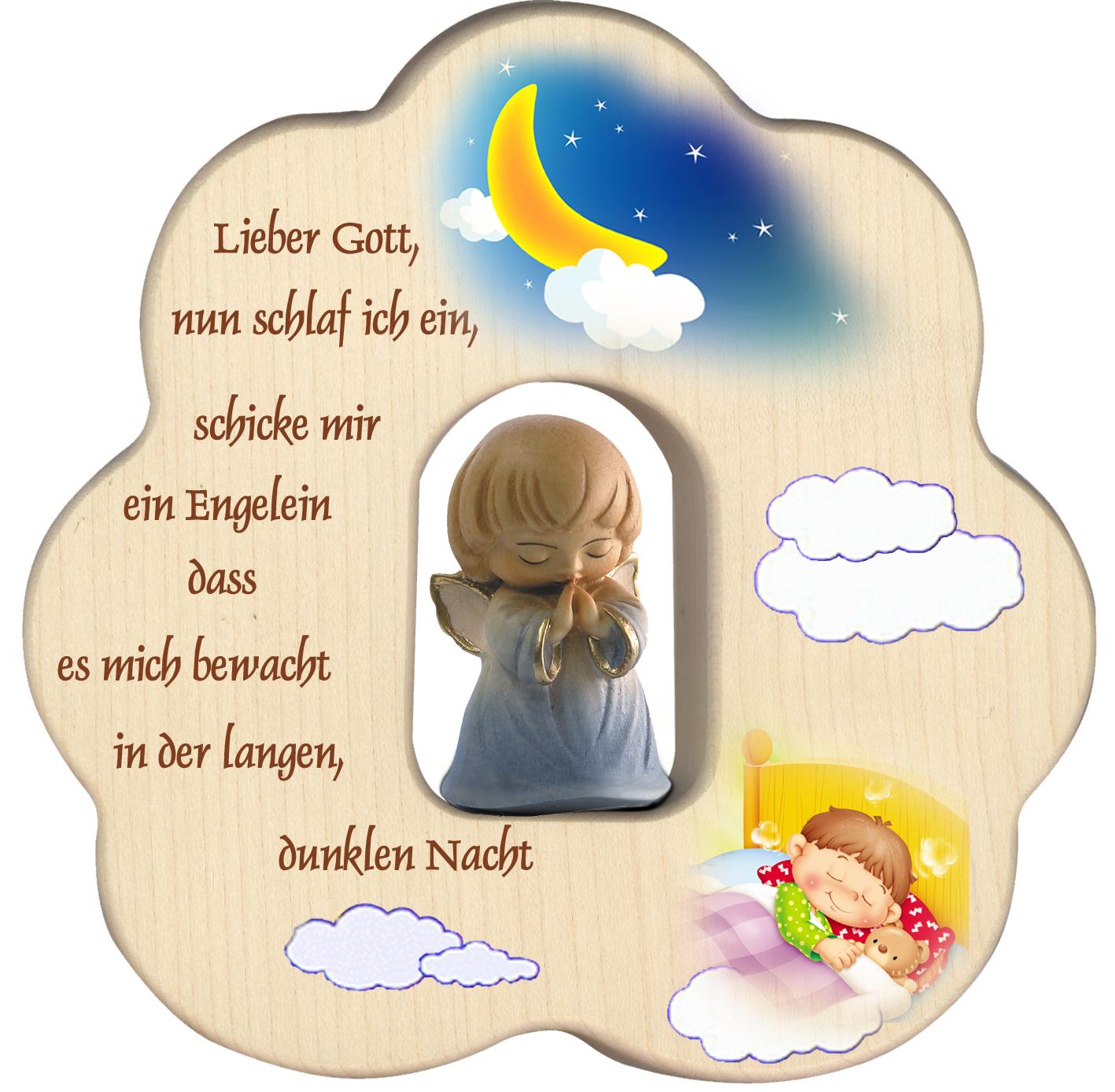 Wolke geschnitzter Schutzengel, blau Gute-Nacht Gebet Holz 12 cm  Kinderzimmer