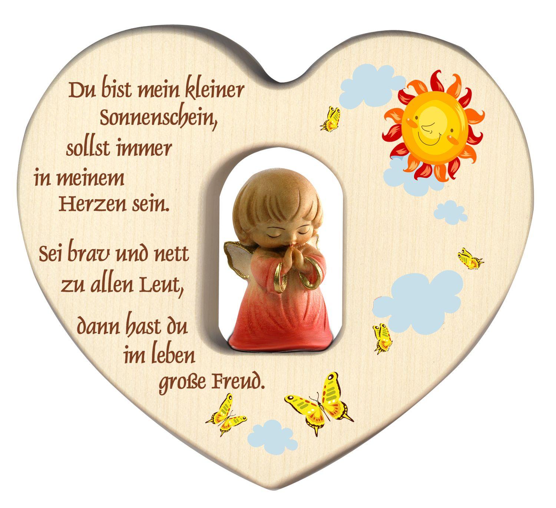 Herz mit Schutzengel, rot Segen Gebet Holz geschnitzt 12 cm Kinderzimmer