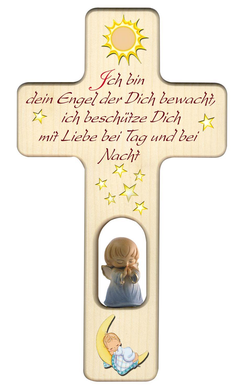 Kreuz für Kinder Schutzengel Gebet Baby Engel blau Kruzifix Holz-Kreuz