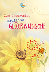 Glückwunschkarte Zum Geburtstag Herzliche Glückwünsche 6 St Blumen Und Vogel