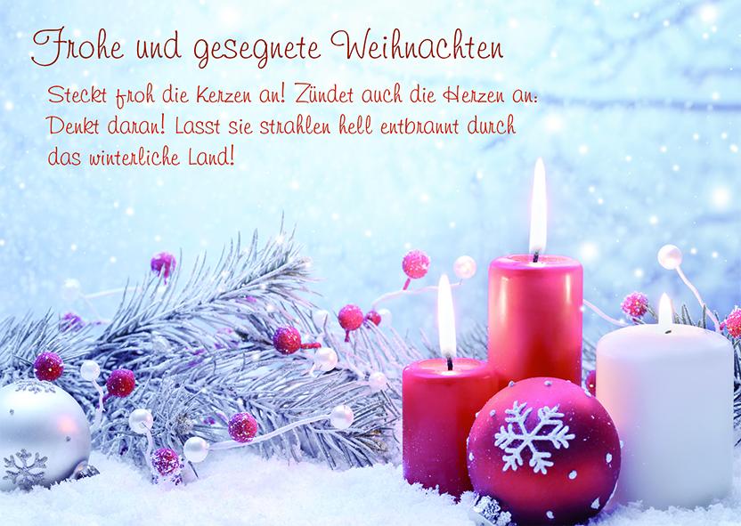 Postkarte Frohe und gesegnete Weihnachten (10 Stck) Kerzen ...