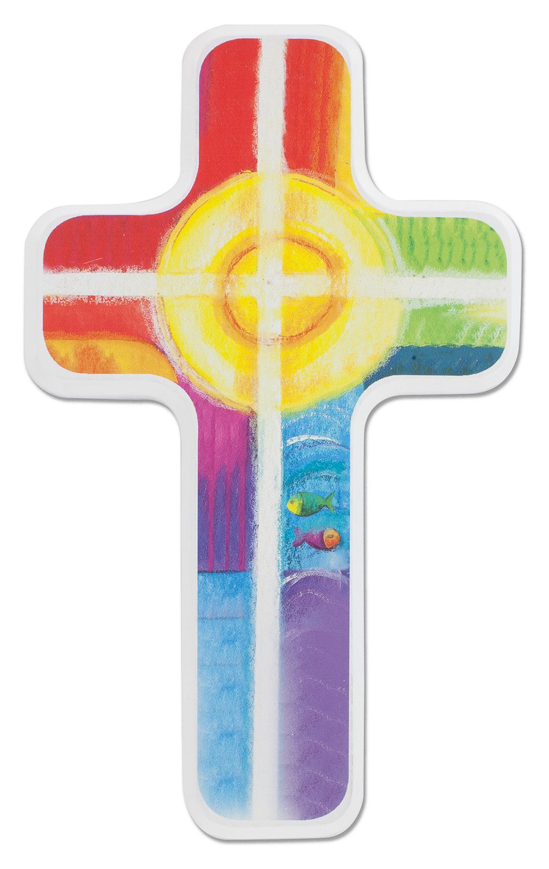 Kreuz für Kinder Sonne Fische 18 cm Kruzifix Holz-Kreuz Wandkreuz