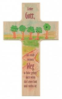 Kinderkreuz Ruhe auf dem Weg Buche bemalt 15 cm 20 cm Wandkreuz Holz Kreuz Halt