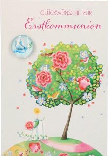 Glückwunschkarte mit Glasmagnet Glückwünsche zur Erstkommunion Kuvert 5 Stück