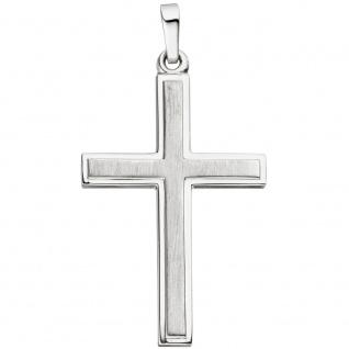 Anhänger Kreuz Liniert 925 Sterlingsilber mattiert Kreuzanhänger Silberkreuz