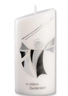 Trauerkerze In stillem Gedenken Engel Silber Oval 18 cm Handarbeit Tischkerze