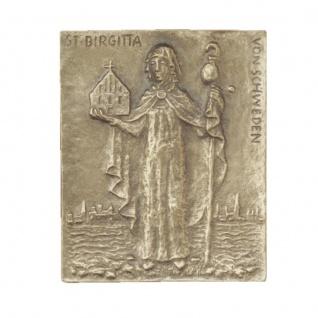 Namenstag Birgitta Bronzeplakette 13 x 10 cm Bronzerelief Wandbild Schutzpatron