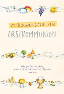 Geldgeschenk-Karte Glückwünsche zur Erstkommunion (6 Stück) mit Umschlag