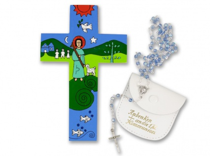 Erstkommunion Geschenk-Set Holzkreuz El Salvador Geschenk zur Kommunion