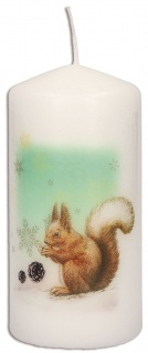 Stumpenkerze Weihnachten Eichhörnchen Irmgard Erath mit Druckmotiv 10 cm