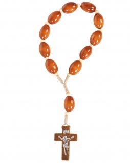 10er Auto-Rosenkranz 17 cm Holz-Perlen stabil geknüpft hell ovale Perle