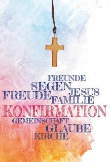 Grußkarte Konfirmation 5 St Kuvert Kreuz-Holzanhänger Textilband Naturpapier