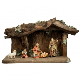 Ulrich Krippe Set 7 Teile Holzfigur geschnitzt Südtirol Weihnachtskrippe
