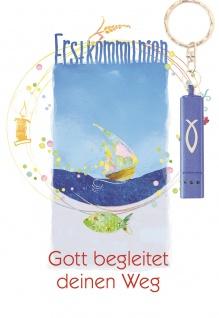 Glückwunschkarte zur Erstkommunion mit blauer Taschenlampe (5 St) Segelboot