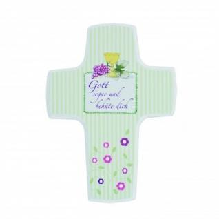 Kinderkreuz Kommunion Perlen Holz Gott segne und behüte 15 cm Wandkreuz