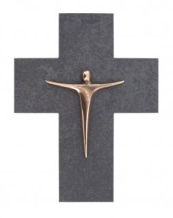 Wandkreuz Korpus Jesus Bronze Schiefer Kreuz 17 cm Kruzifix Christlich