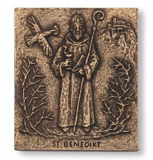Namenstag Benedikt 13 x 10 cm Namenspatron Bronzerelief Wandbild Schutzpatron