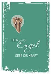 Klappkarte mit Neusilber-Engel Plakette Dein Engel gebe (5 St) Grußkarte Kuvert