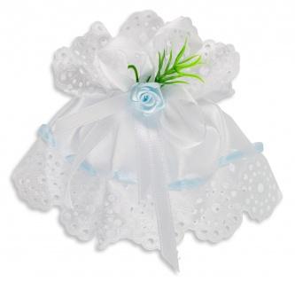 Kerzenmanschette Satin Stoff Blau Weiß 11 cm Tropfschutz für Taufkerze Buben