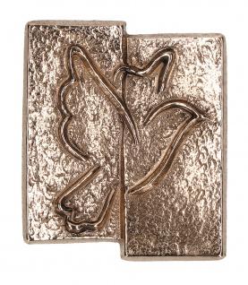 Kreuz-Plakette Taube aus Bronze 5, 5 cm zum Aufhängen und Hinlegen