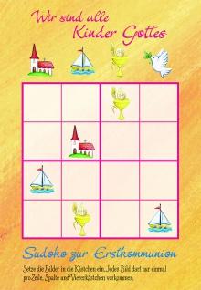 Kommunionkarte Zur Erstkommunion Sudoku (6 Stck) Glückwunschkarte Grußkarte