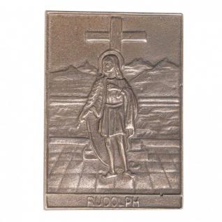 Namenstag Rudolf 8 x 6 cm Bronzeplakette Bronzerelief Wandbild Schutzpatron
