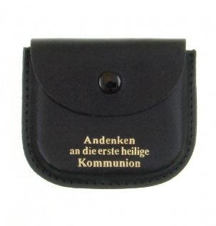 Rosenkranz-Etui Leder elegant schwarz Kommunion Schmucketui Tasche