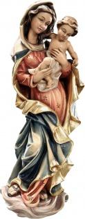Wandrelief Madonna des Friedens Holz geschnitzt handbemalt Maria mit Kind
