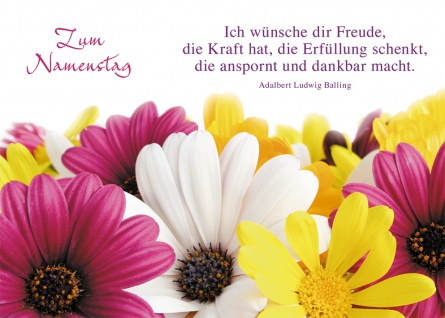 Postkarte Zum Namenstag 10 Stück Bunte Blumen Adalbert Ludwig Balling Grußkarte