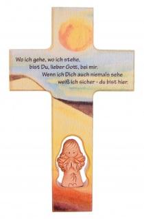 Kinderkreuz Tonengel Buchenholz Text Wo ich gehe, wo ich stehe.. 20 cm Wandkreuz