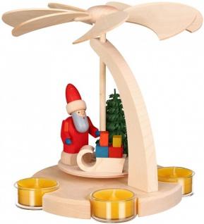 Weihnachtspyramide Weihnachtsmann Schlitten 18 cm Seiffen Erzgebirge Handarbeit