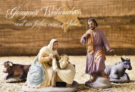 Glückwunschkarte Gesegnete Weihnachten (6 Stück) Krippe Grußkarte Kuvert