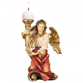 Chorengel mit Kerze links Holzfigur geschnitzt Engelfigur Südtirol