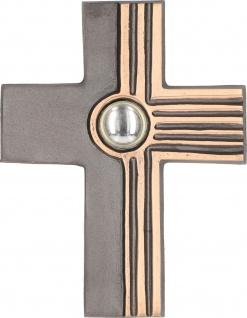 Wandkreuz Kruzifix mit Glasstein Bronze dunkel patiniert 12 cm Kreuz
