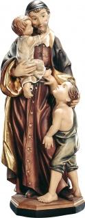 Heiliger Vinzenz von Paul Holzfigur geschnitzt Südtirol Schutzpatron der Waisen