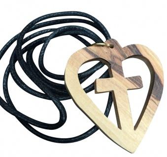Schmuck Kreuz Herz Anhänger Kruzifix 4 cm Olivenholz Bethlehem Holz