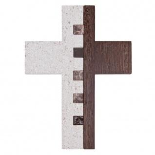 Wandkreuz Wengeholz Kalkstein Glaseinlage 22 cm Kruzifix Christlich