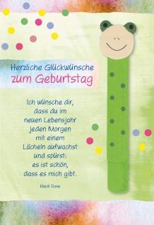 Glückwunschkarte Geburtstag Holz-Lesezeichen Frosch 5 St Kuvert Lebensjahr