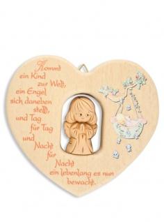 Herz Ton-Schutzengel Naturholz 11 cm Kinder Wandschmuck Segen Gebet Taufgeschenk