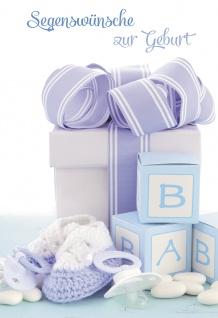 Glückwunschkarte Segenswünsche zur Geburt (6 St) Blaue Schühchen und Schnuller