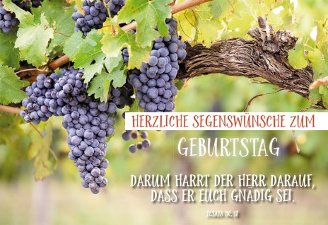 Glückwunschkarte Geburtstag Jesaja Weintrauben 6 St Kuvert Bibelwort Meditation