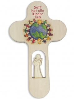 Kinderkreuz geschnitzter Engel Weltkugel Naturholz 21 cm Wandkreuz Kinder