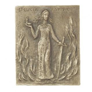 Namenstag Lucia Bronzeplakette 13 x 10 cm Bronzerelief Wandbild Schutzpatron