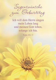 Postkarte Segenswünsche zum Geburtstag (10 St) Gelbe Blume Psalm Lutherbibel
