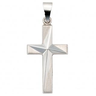 Kreuz Schmuck Gold 375 Weißgold teilmattiert Christliches Schmuckkreuz